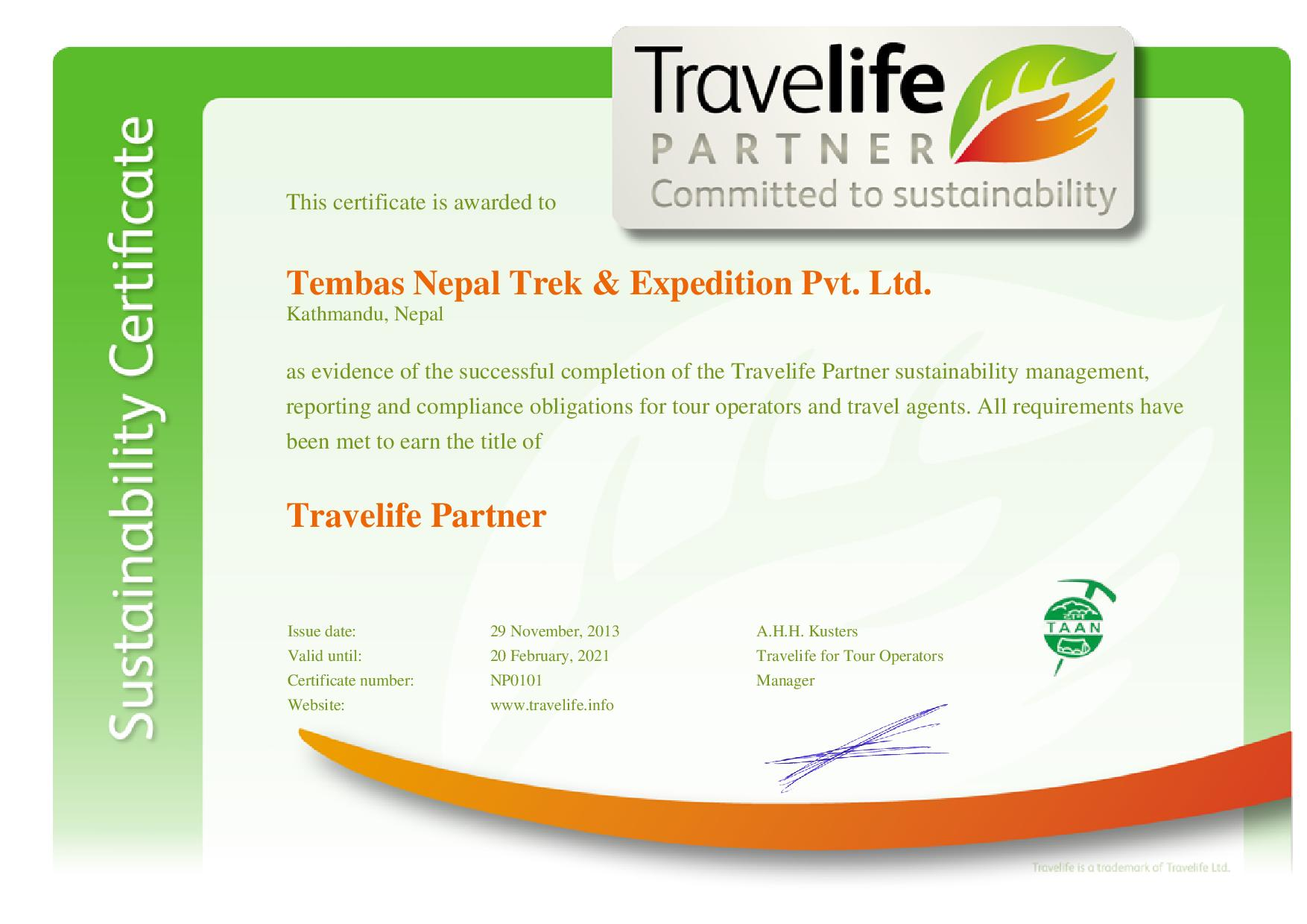 Tembas Nepal Trek Expedition Pvt Ltd. company certificate page