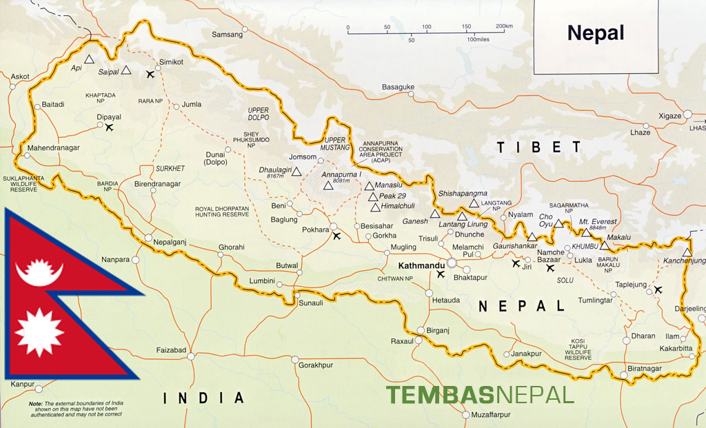 Nepal Tibet Karte.Map Of Nepal Tembas Nepal Trek Expedition Pvt Ltd